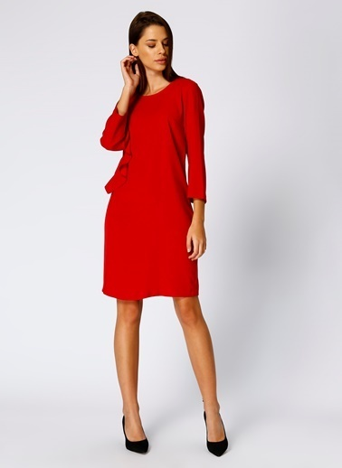 House Of Camellia Truvakar Kol Volanlı Elbise Kırmızı